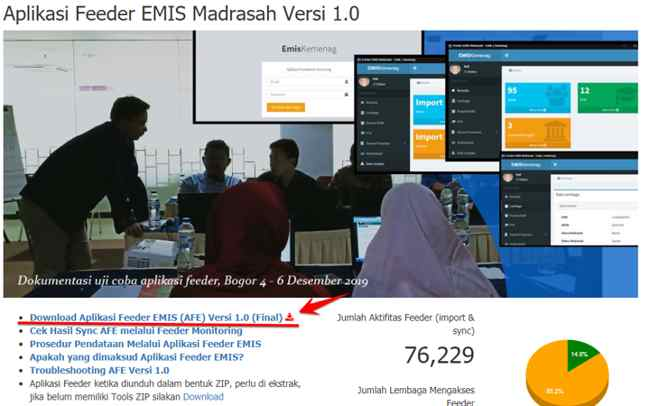 Link download Aplikasi Feeder Emis