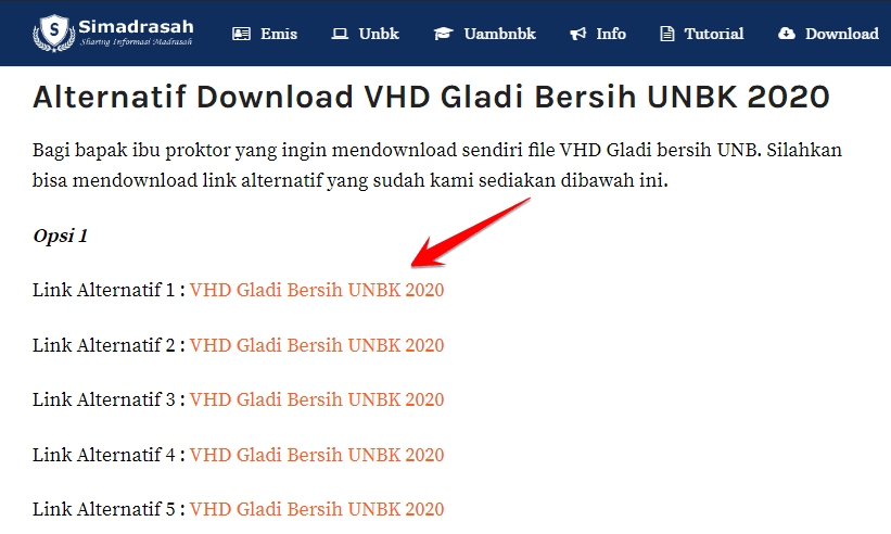 Link Download VHD Gladi Bersih UNBK
